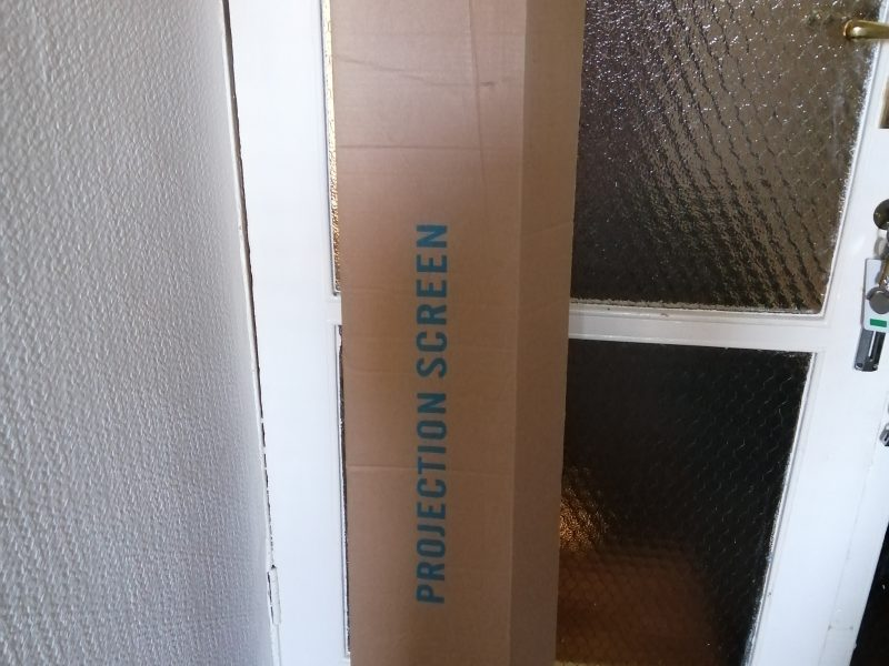 Used Projector Screen Pull Down 125cm x125cm HD Tripod White Matt with Carrier. £50.00