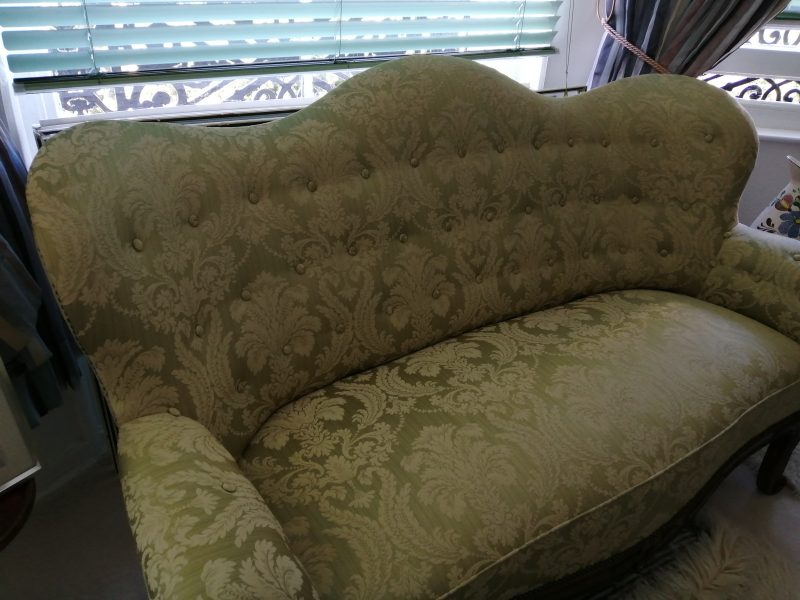 Re Upholstered Spoon Back Settee For Sale. Great Display in Bedroom! £450.00